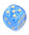 Mini Dé marbré bleu 12 mm points dorés
