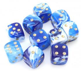 Mini Dé bleu et blanc 12 mm marbré avec points dorés pour jeux