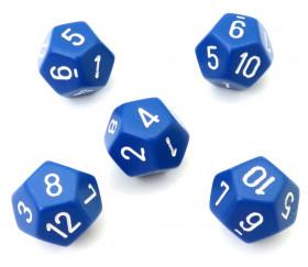 Dé à jouer 12 faces bleu pour jeu opaque