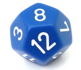 Dé à jouer 12 faces bleu opaque pour jeux de math ou jdr. D12