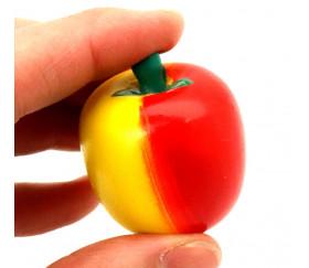Pomme en bois 4 x 3.5 cm - jouet fruit rouge et jaune vente à l'unité