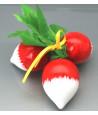 Botte 3 Radis en bois rouge et blanc. Jouet légume pour la marchande ou décoration de table.