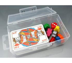Boite clips transparente pour rangement 1 jeu de 54 cartes + accessoires