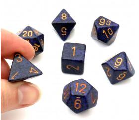 Set 7 dés multi-faces Speckled bleu nuit golden Cobalt chessex