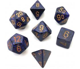 Set 7 dés multi-faces Speckled bleu nuit golden Cobalt