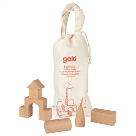 45 blocs de construction en bois naturel pour jeux en sac