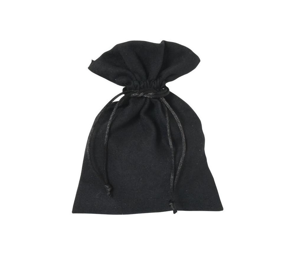 Sac velours 17 x 12 cm noir avec cordon