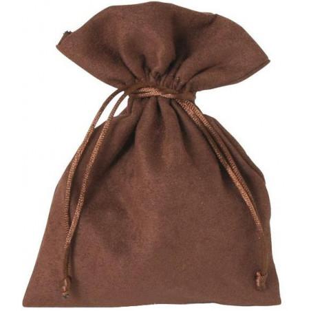Sac velours 17 x 12 cm marron avec cordon