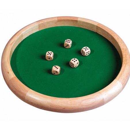 Grande Piste dés en bois ronde 45 cm avec 5 dés bois