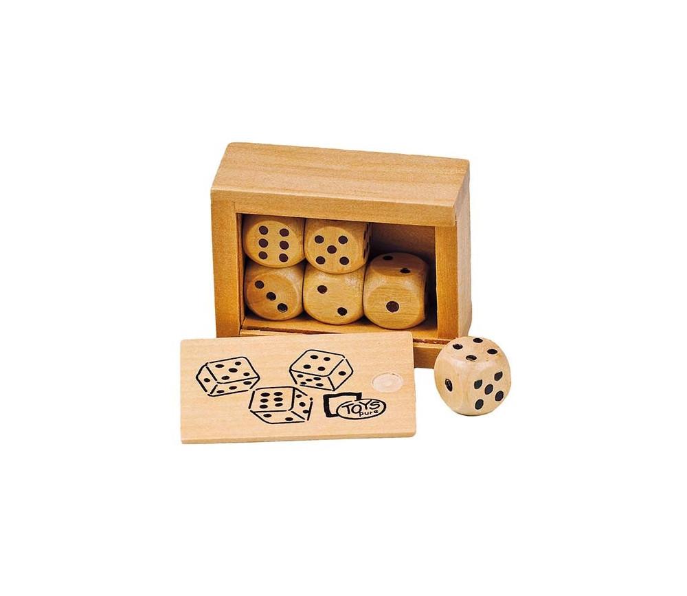 Boite bois avec 6 Dés en bois 16 mm de 1 à 6 pour jeux
