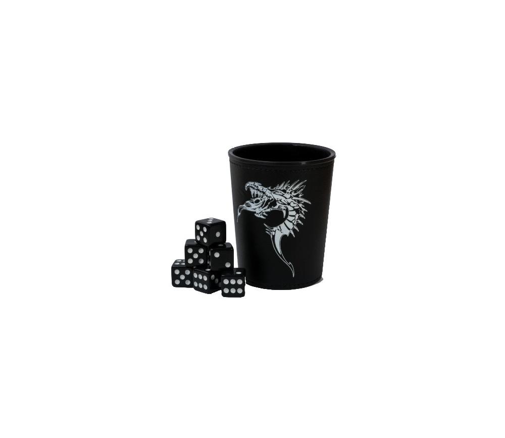 Gobelet lanceur dés noir motif dragons