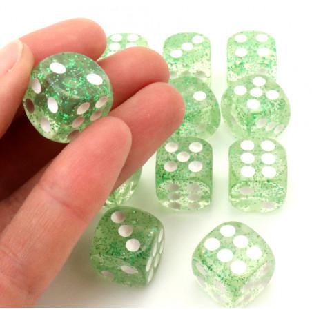 Dé avec paillettes 16 mm transparent vert à l'unité