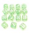 Dé transparent vert avec des paillettes à l'intérieur
