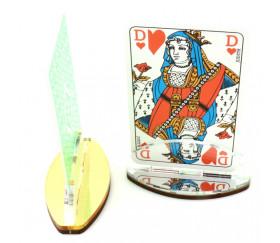 2 Supports cartes à jouer de collection doré et argent