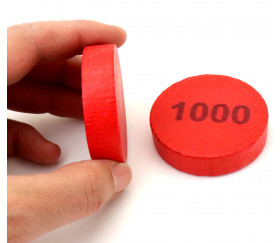 Pion bois 1000 Belote - Palet bois 5 cm rouge 52 x 13 mm