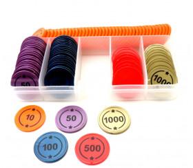 Boite 99 jetons numérotés BELOTE de 10 à 1000 + marqueur