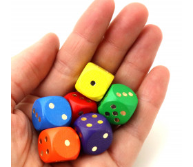 Dé bois orange 16 mm points dorés de 1 à 6 pour jeu de société
