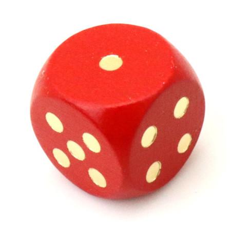 Dé bois rouge 16 mm points dorés de 1 à 6 pour jeu de société