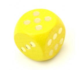 Dé bois jaune 16 mm points dorés de 1 à 6 pour jeu de société