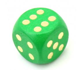 Dé bois vert 16 mm points dorés de 1 à 6 pour jeu de société
