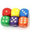Dé bois couleurs 16 mm points dorés de 1 à 6 pour jeu de société