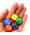 Dé bois colorés 16 mm points dorés de 1 à 6 pour jeu de société