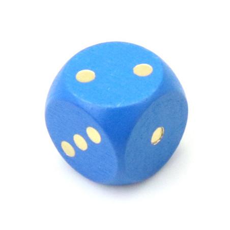 Dé bois bleu 16 mm points dorés de 1 à 6 pour jeu de société