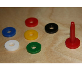 Socle avec jeton troué rouge pour jeux