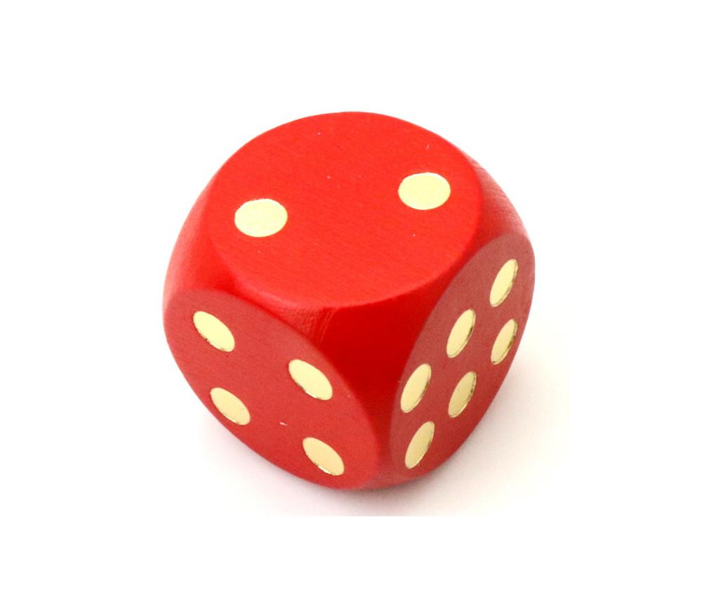 Dé en bois 25 mm rouge de 1 à 6 pour jeux