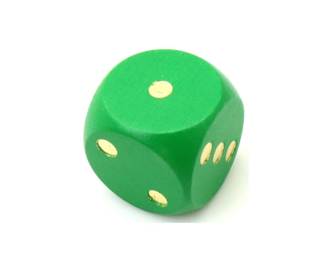 Dé en bois 25 mm vert de 1 à 6 pour jeux