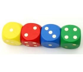 Gros dé en bois 25 mm  coloré de 1 à 6 pour jeux