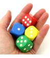 Dé en bois 25 mm  coloré de 1 à 6 pour jeux