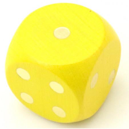 Dé en bois 25 mm jaune de 1 à 6 pour jeux