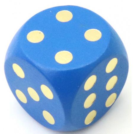 Dé en bois 25 mm bleu de 1 à 6 pour jeux