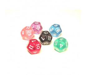 Dé à jouer 12 faces translucides dodécaèdre
