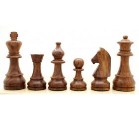 Pièces échecs 6 bois plombées lestées - Acacia et buis, taille 6 luxe