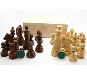 Coffret 32 pièces échecs 6 bois - Acacia marron et buis, taille 6 luxe non plombées.