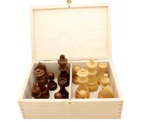 Pièces échecs 6 bois plombées lestées - Acacia et buis, taille 6 luxe dans coffret bois