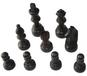 Pièces échecs 6 bois plombées lestées - noir et buis naturel, taille 6 luxe