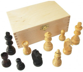 Pièces échecs 6 bois plombées lestées - noir et buis naturel dans un coffret bois, taille 6 luxe