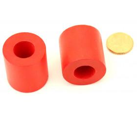 Cylindre troué diam 2.9 cm haut 3 cm anneau en bois rouge
