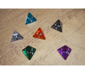 Dé 4 faces pyramide 1 à 4 acrylique