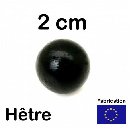 Boule 20 mm noir bois hêtre