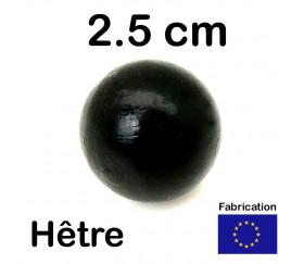 Boule 25 mm noire bois hêtre