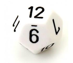 Dé 12 faces blanc pour jeu opaque D12 standard
