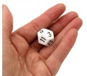 Dé 12 faces pour jeu opaque D12 blanc taille standard