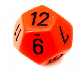 Dé 12 faces pour jeu opaque D12 standard orange