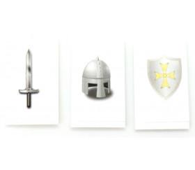 Tuile carton Casque jeton 24 x 40 mm épée et bouclier