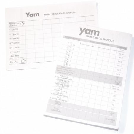 Bloc note pour jeu de dés yams marquage points