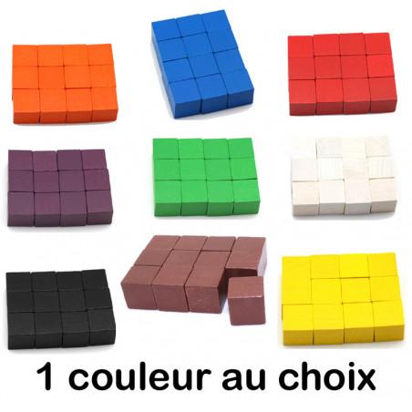 12 Cubes colorés en bois 2.5 cm. 25 x 25 x 25 mm pour jeux